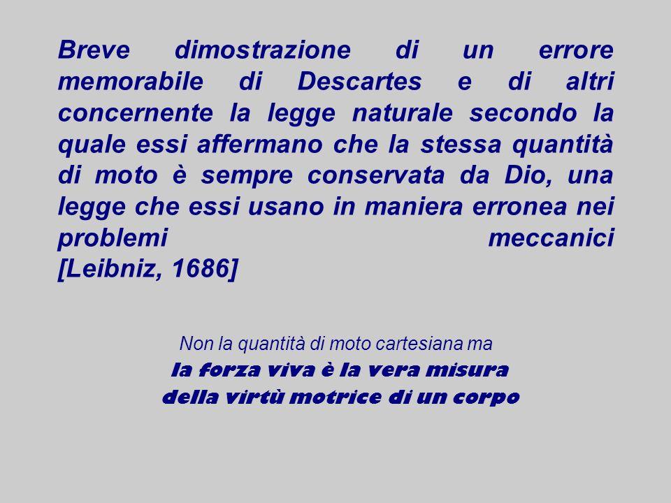 Breve dimostrazione di un errore memorabile di Descartes e di altri concernente la legge naturale secondo la quale essi affermano che la stessa quantità di moto è sempre conservata da Dio, una legge che essi usano in maniera erronea nei problemi meccanici [Leibniz, 1686]